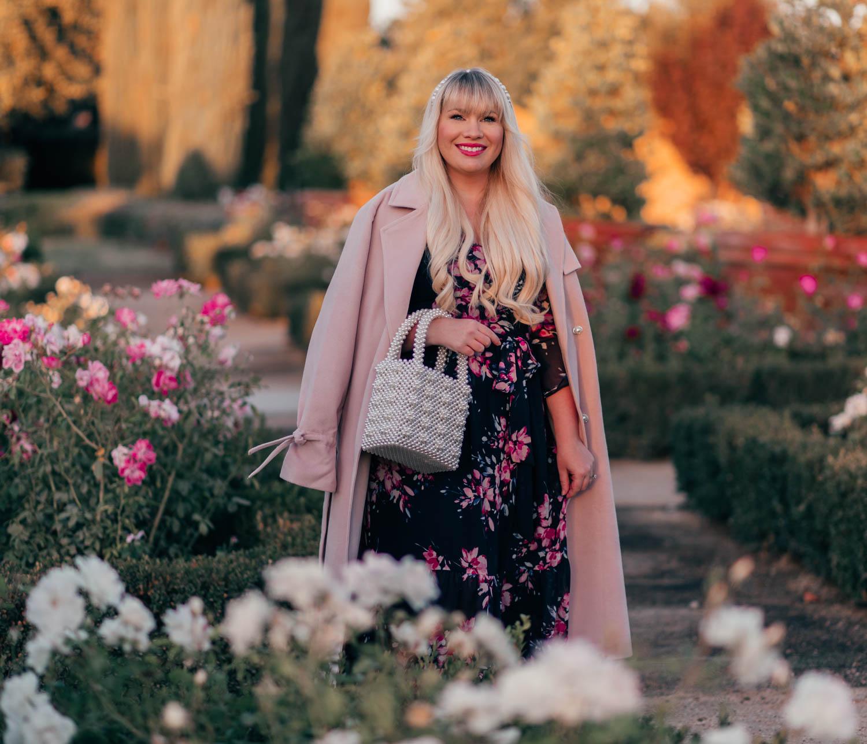 Elizabeth Hugen of Lizzie in Lace wears a Feminine Floral Winter Dress