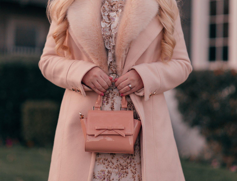 Elizabeth Hugen of Lizzie in Lace styles a nude bow handbag