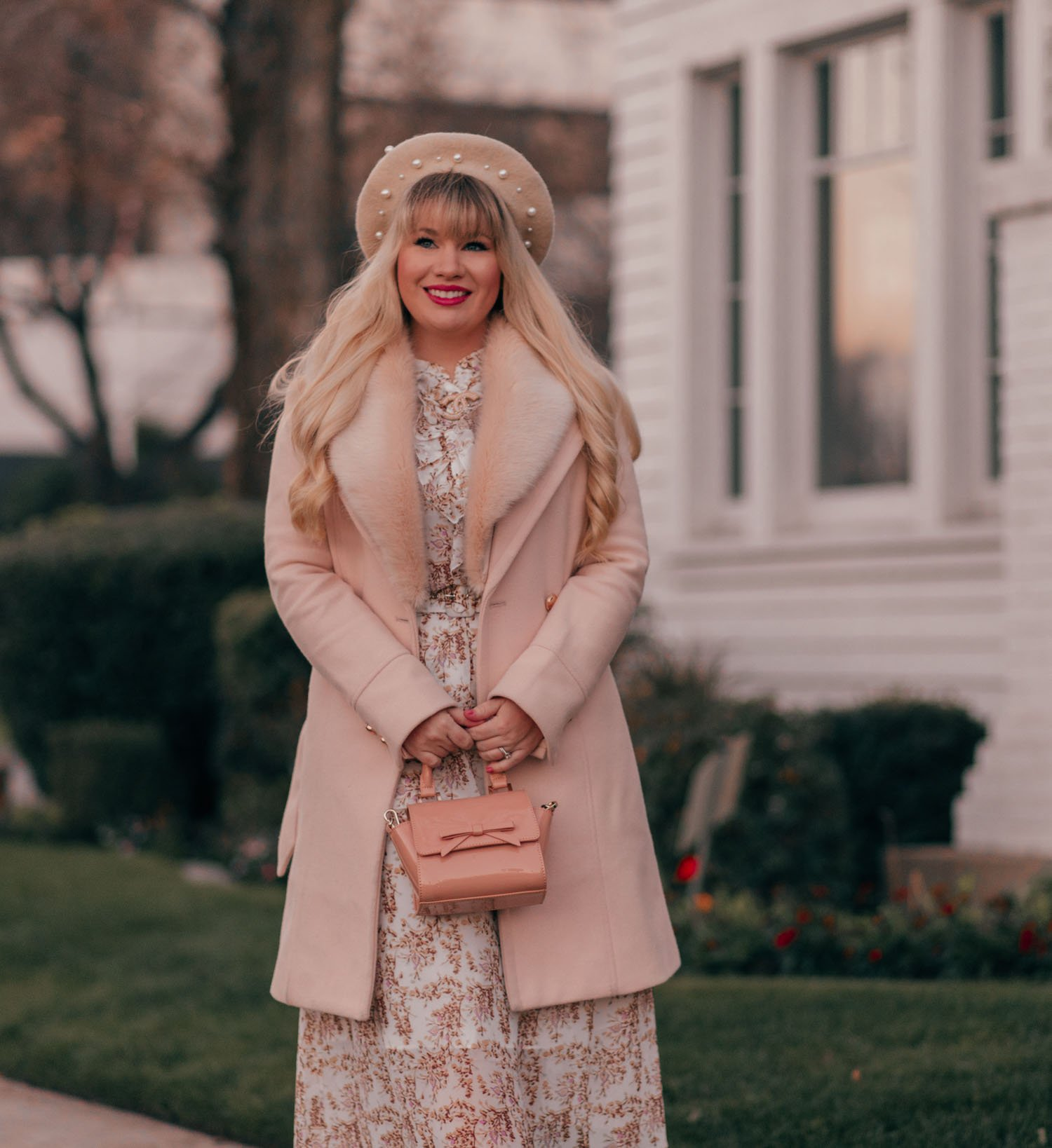 Elizabeth Hugen of Lizzie in Lace wears a neutral feminine winter outfit