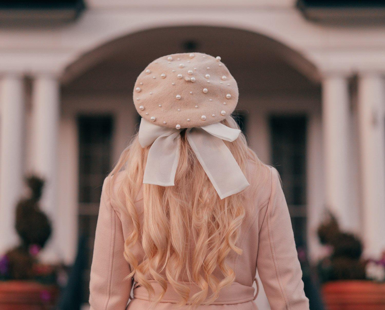 Elizabeth Hugen of Lizzie in Lace wears a pearl bow beret