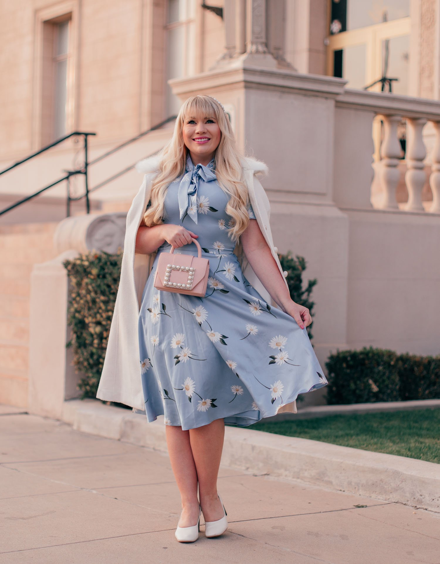 Light Blue Floral Spring Dress