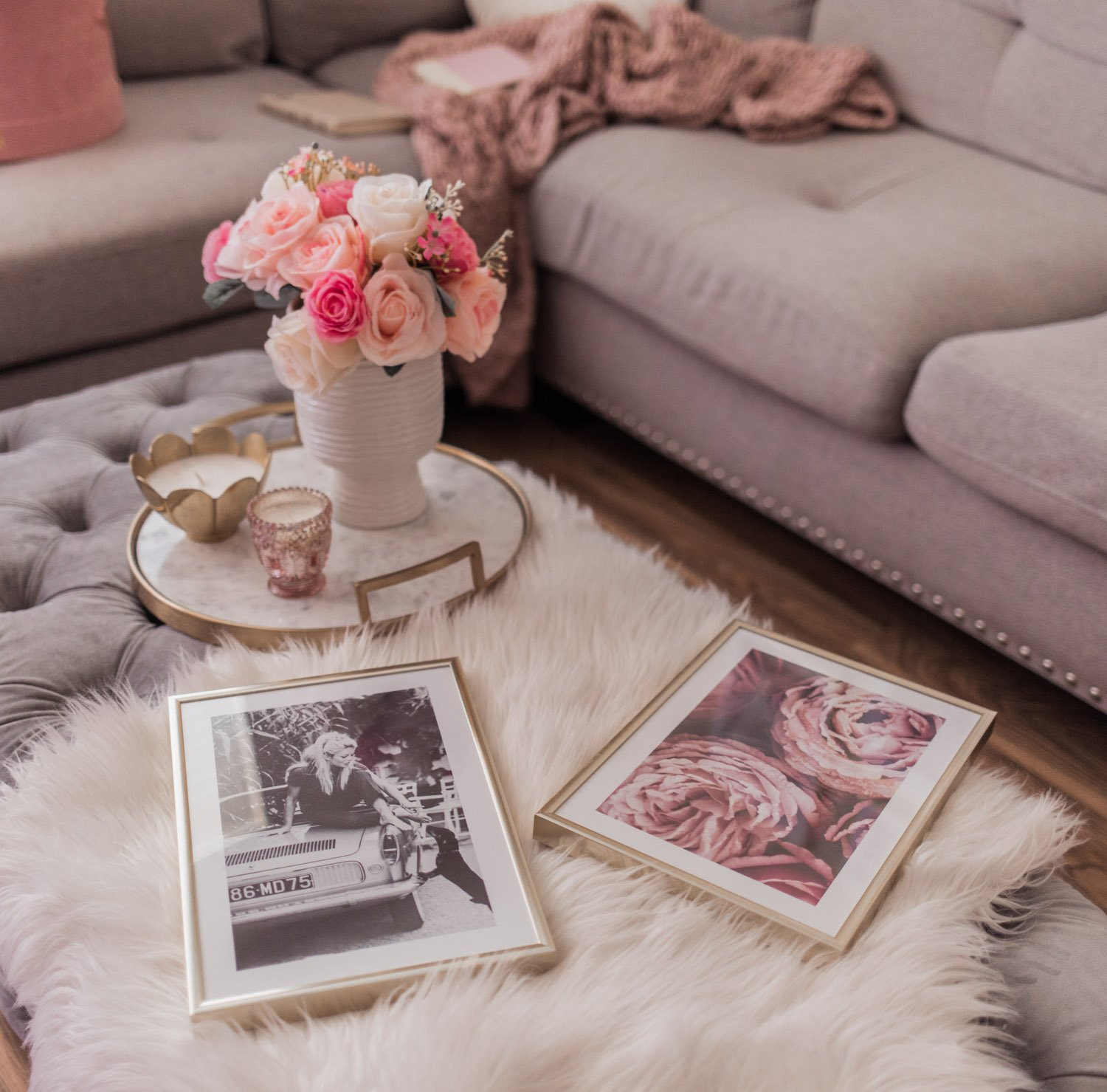 Elizabeth Hugen of Lizzie in Lace shares her feminine home decor including a pink gallery wall
