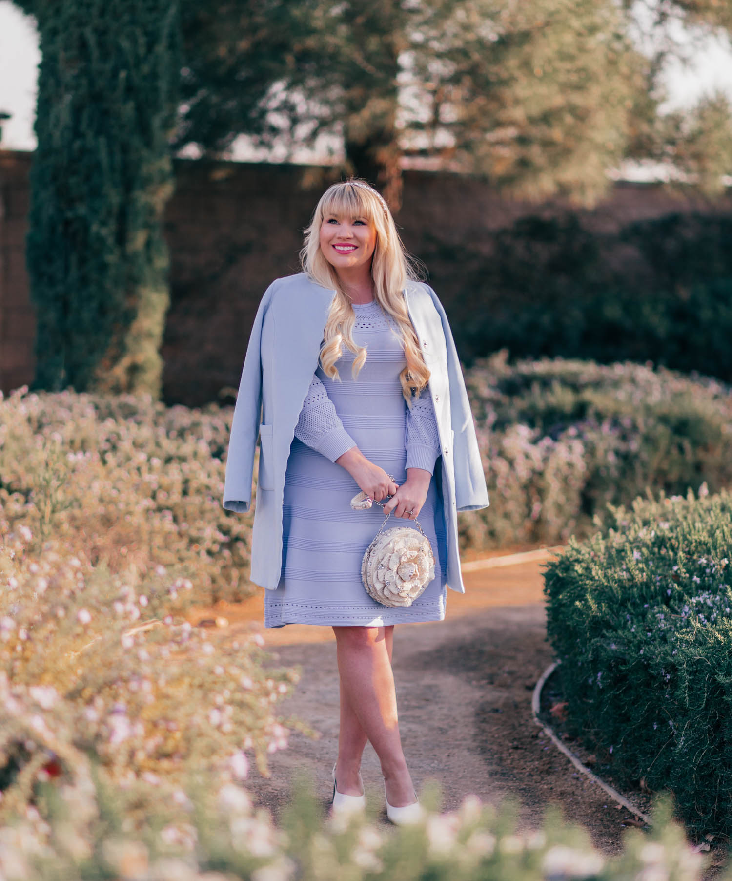 Elizabeth Hugen of Lizzie in Lace styles a light blue monochrome outfit for spring