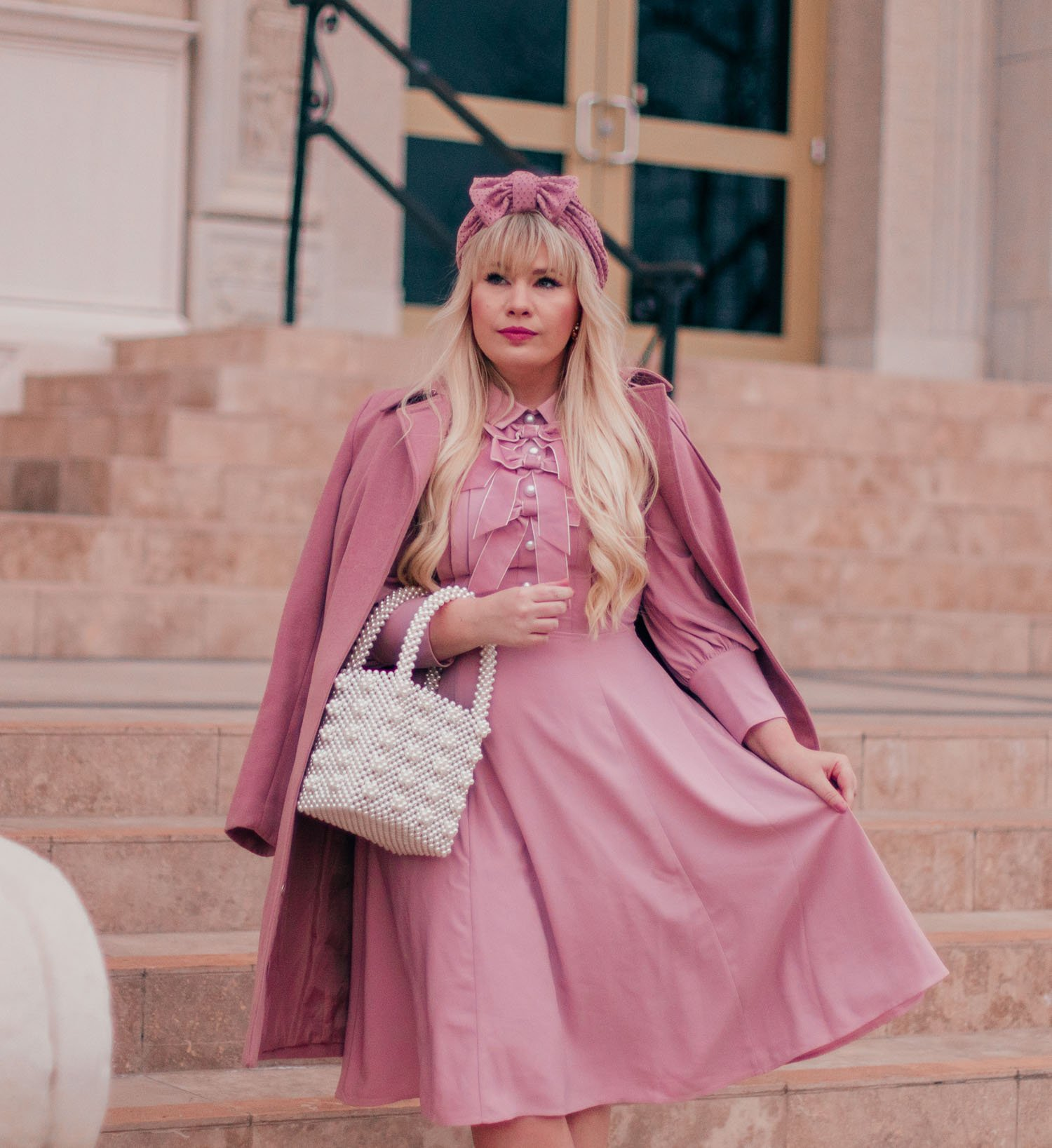 Elizabeth Hugen of Lizzie in Lace styles a pink Valentine's Day outfit