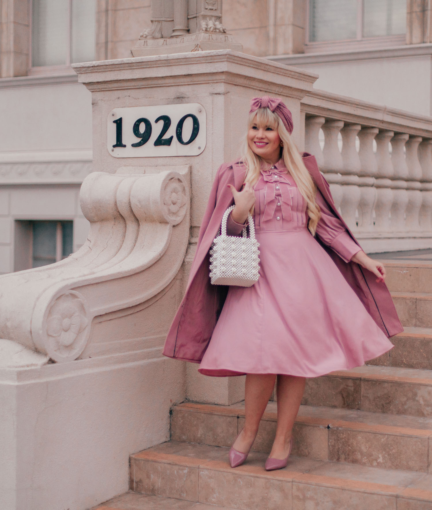 Elizabeth Hugen of Lizzie in Lace styles a pink monochrome outfit