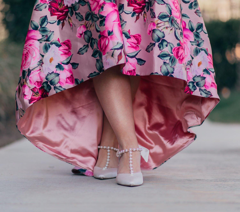 Elizabeth Hugen of Lizzie in Lace wears white pearl heels