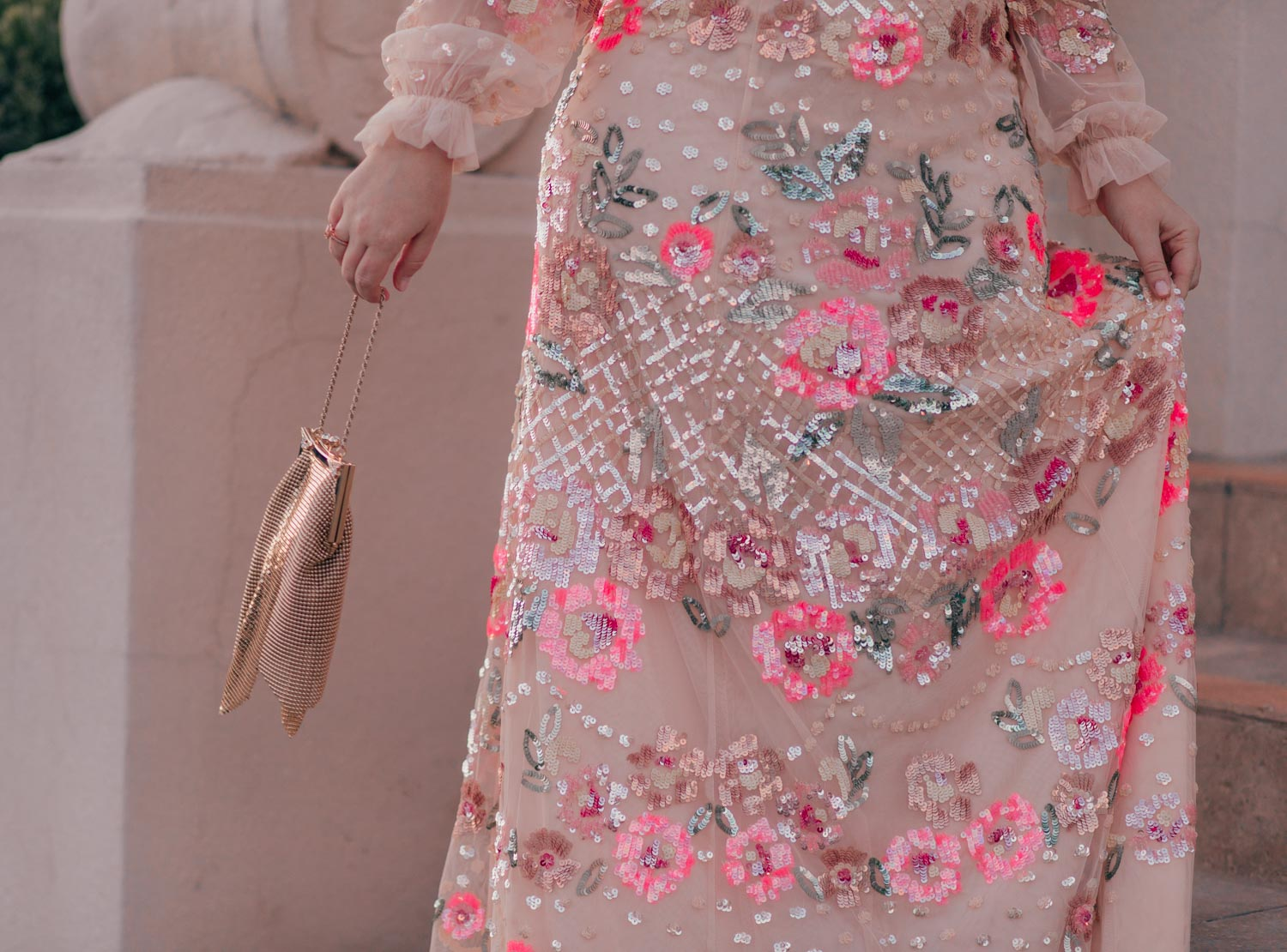 Elizabeth Hugen of Lizzie in Lace shares a floral sequin Needle and Thread dress along with her spring bucket list