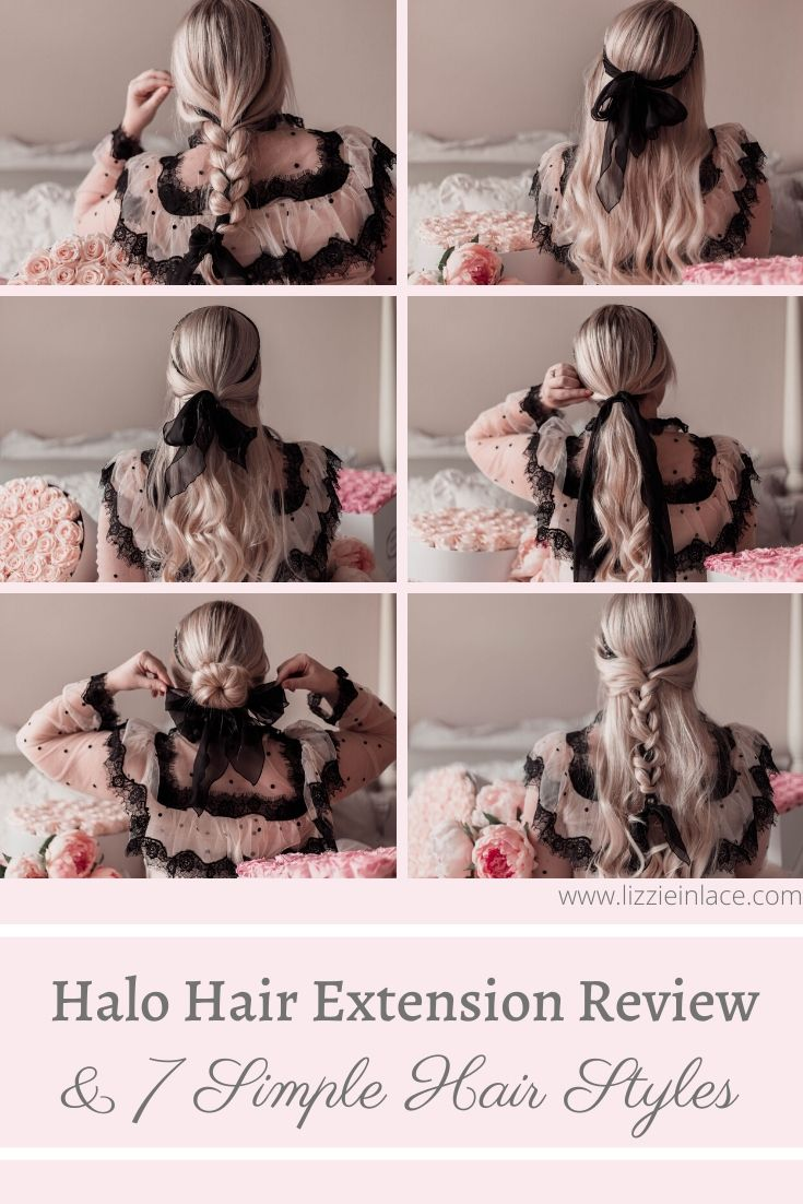 Elizabeth Hugen of Lizzie in Lace shares her halo hair extension review and 7 simple hairstyles