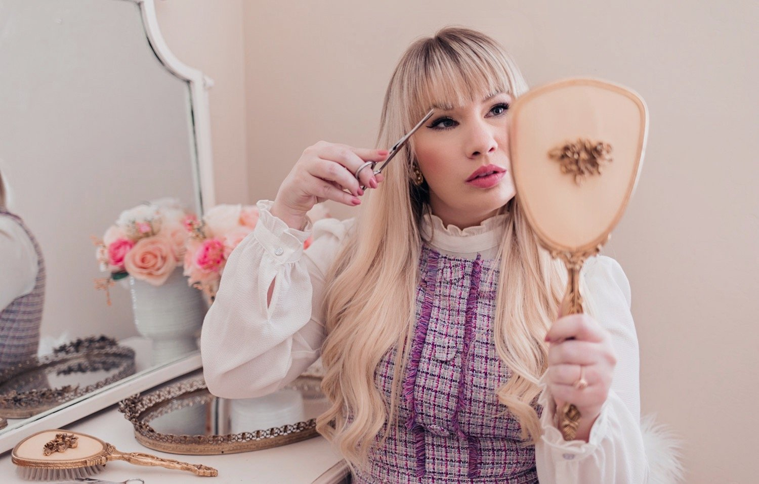 Elizabeth Hugen of Lizzie in Lace shares How to Cut Your Own Bangs at Home