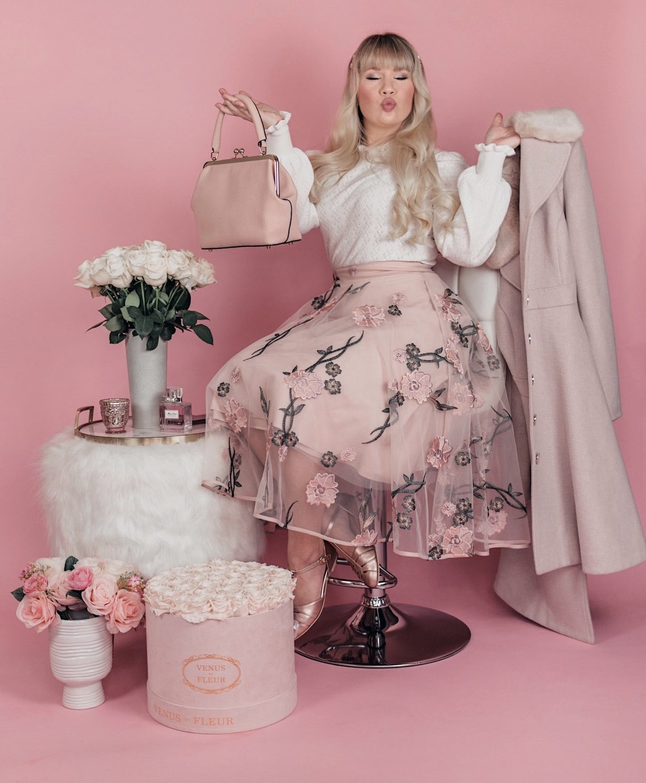 Elizabeth Hugen of Lizzie in Lace shares her pink feminine outfit in her April 2020 Month in Review