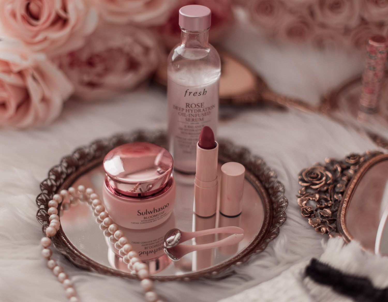 Elizabeth Hugen of Lizzie in Lace shares her must-have pink beauty products including the sulwhasoo bloomstay eye cream