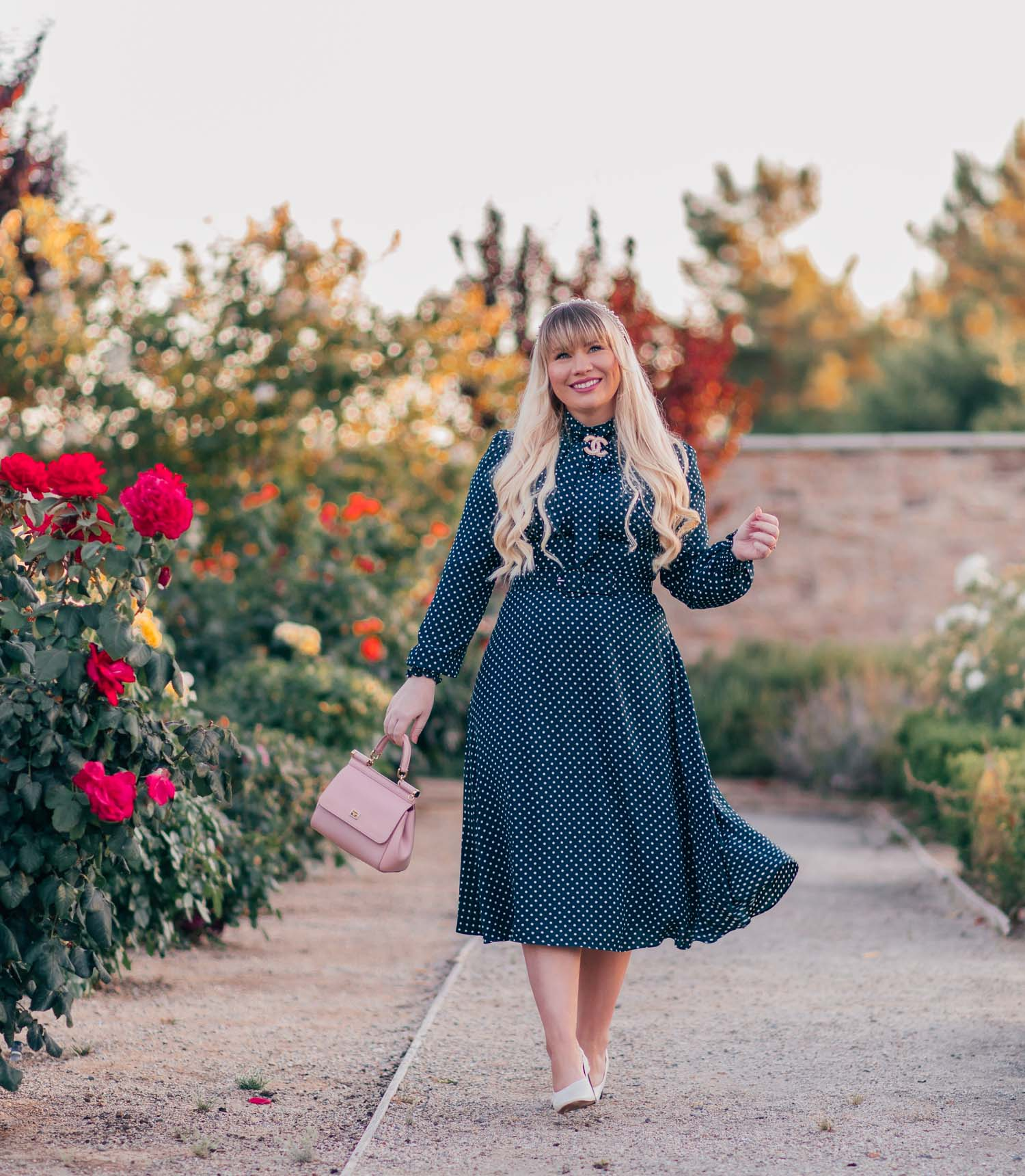 Elizabeth Hugen of Lizzie in Lace shares a vintage inspired green polka dot dress