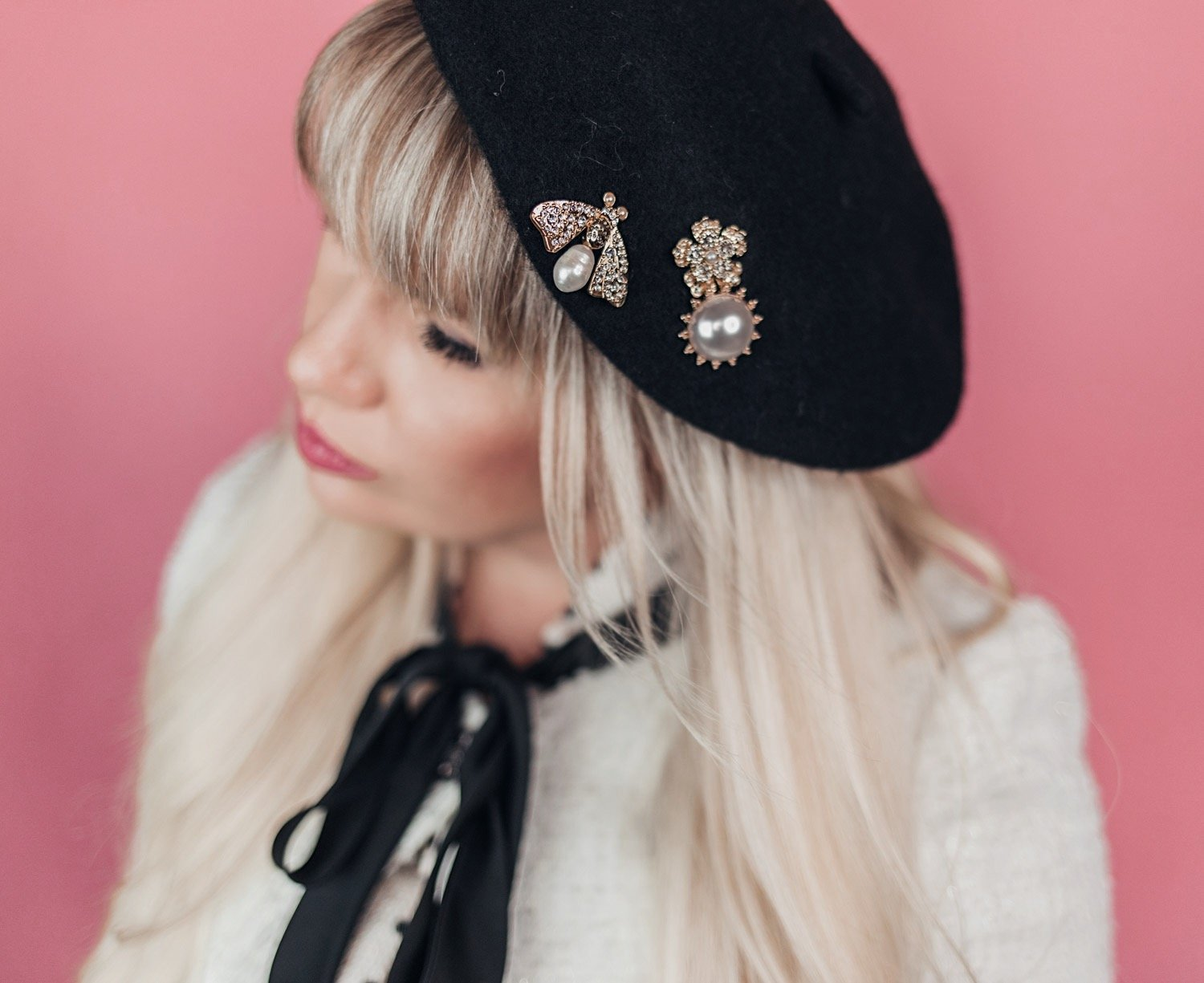 Fashion blogger Elizabeth Hugen of Lizzie in Lace shares creative ways to wear earrings without pierced ears and styles a black beret