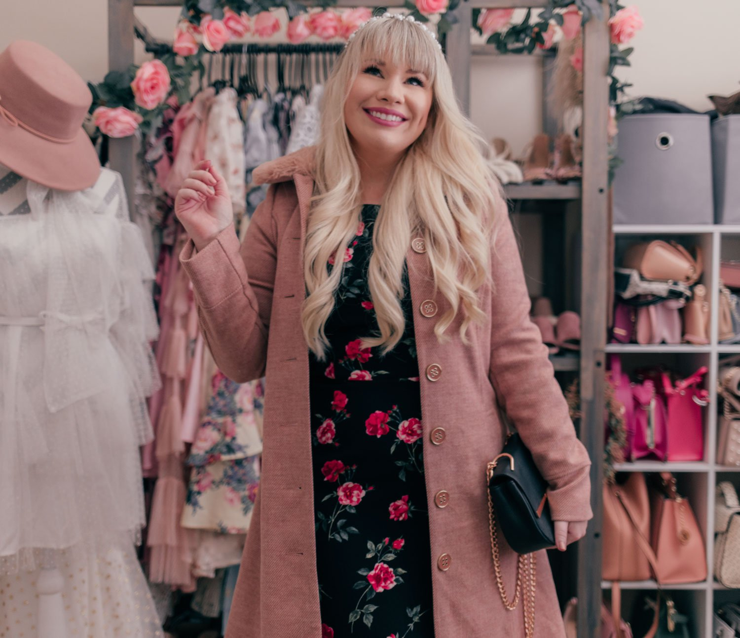 Fashion Blogger Elizabeth Hugen of Lizzie in Lace styles a black floral dress and pink faux fur coat