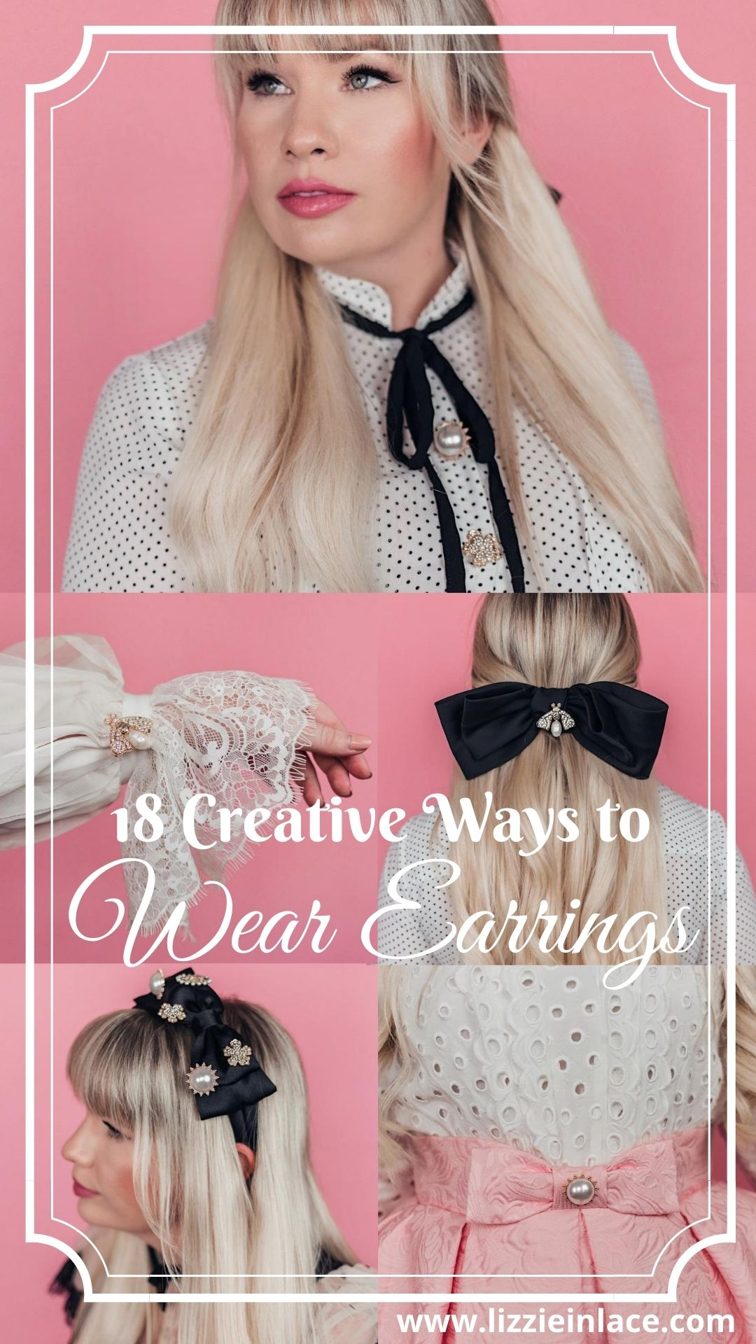 Fashion blogger Elizabeth Hugen of Lizzie in Lace shares creative ways to wear earrings without pierced ears