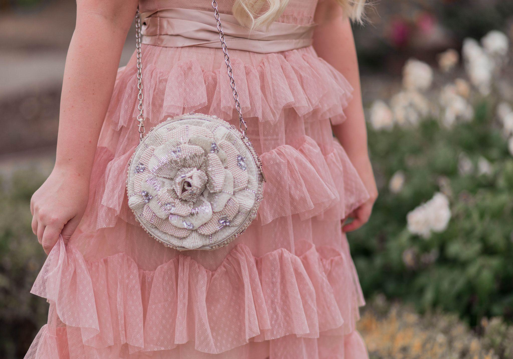 Fashion Blogger Elizabeth Hugen of Lizzie in Lace shares her Mary Frances designer handbag collection including this gorgeous floral bridal handbag