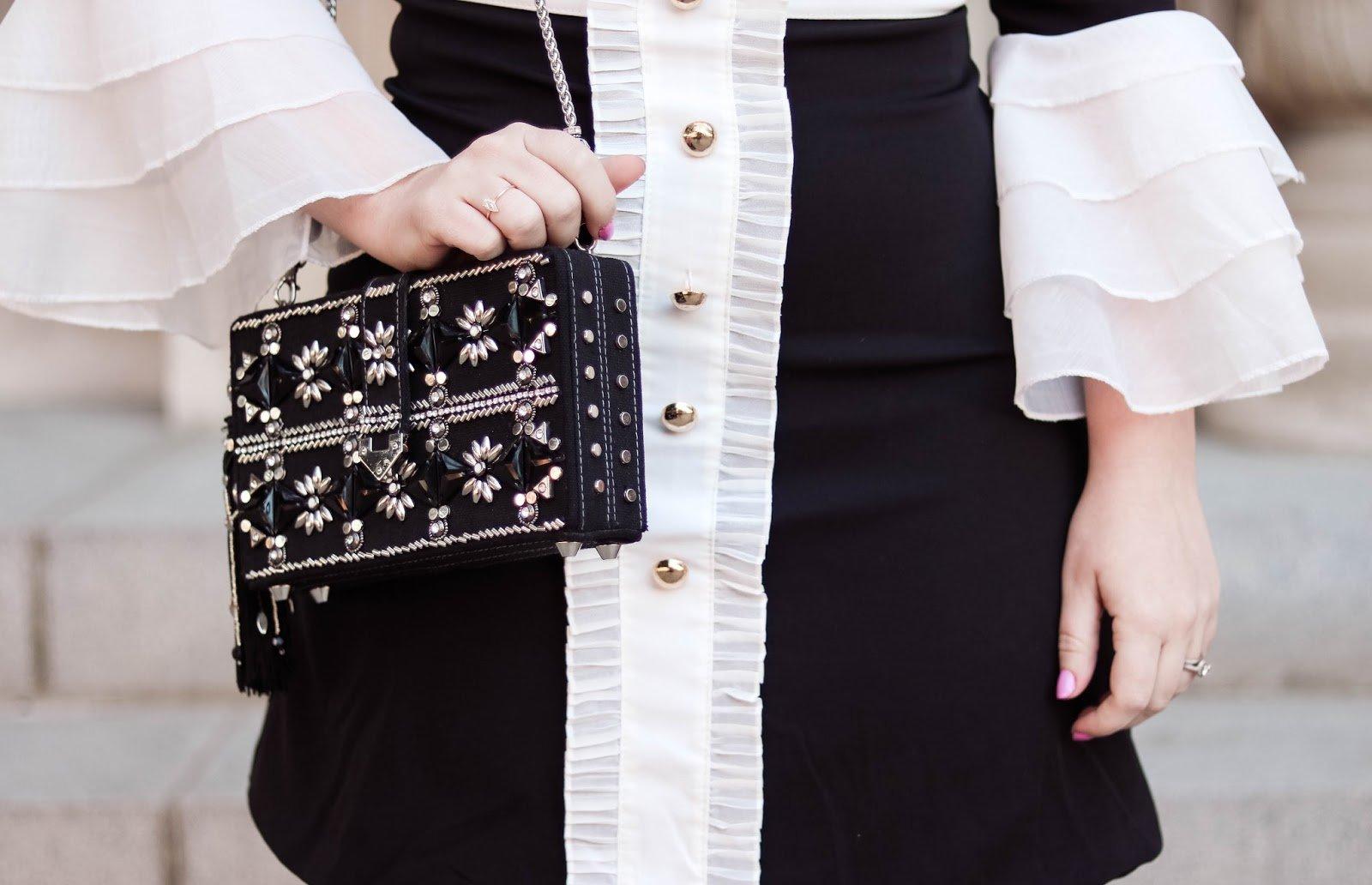Fashion Blogger Elizabeth Hugen of Lizzie in Lace shares her Mary Frances designer handbag collection including this gorgeous black jeweled handbag