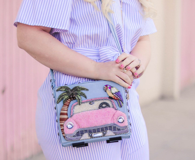 Fashion Blogger Elizabeth Hugen of Lizzie in Lace shares her Mary Frances designer handbag collection including this gorgeous vintage pink cadillac handbag