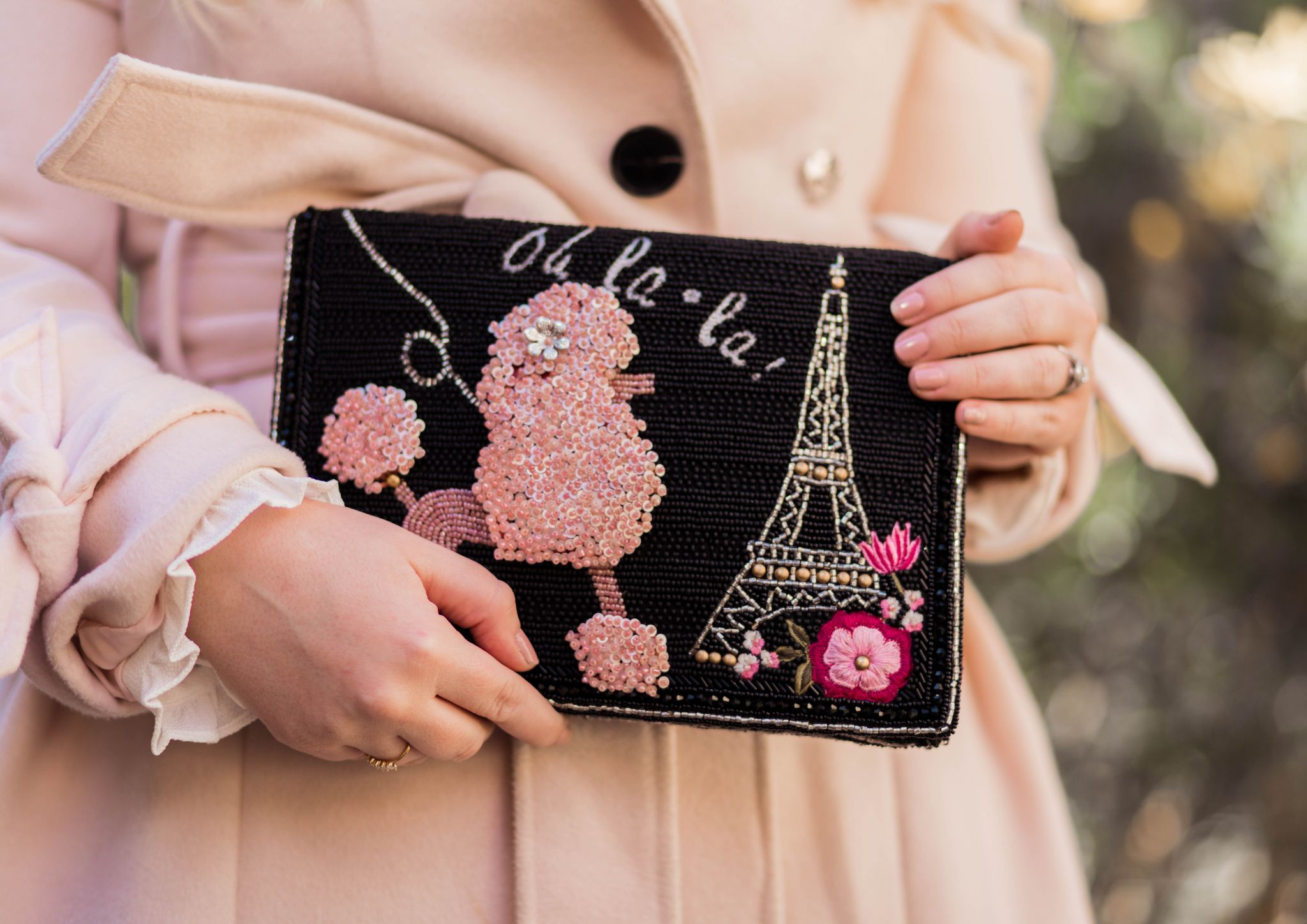 Fashion Blogger Elizabeth Hugen of Lizzie in Lace shares her Mary Frances designer handbag collection including this gorgeous Parisian inspired handbag