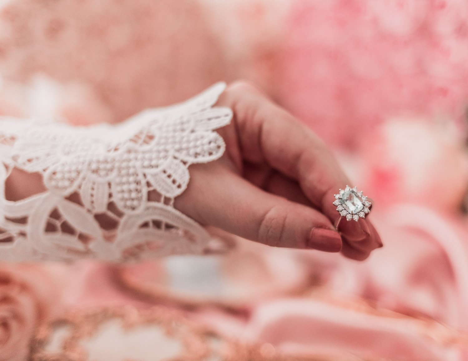 Fashion Blogger Elizabeth Hugen of Lizzie in Lace shares how to get free jewelry along with thoughts on this stunning Aquamarine ring with white gold