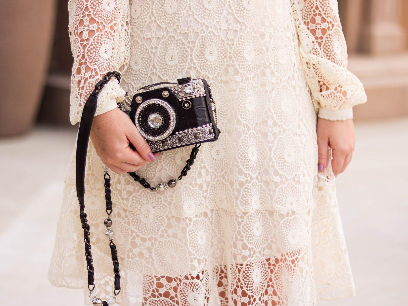 Fashion Blogger Elizabeth Hugen of Lizzie in Lace shares her Mary Frances designer handbag collection including this gorgeous black camera handbag