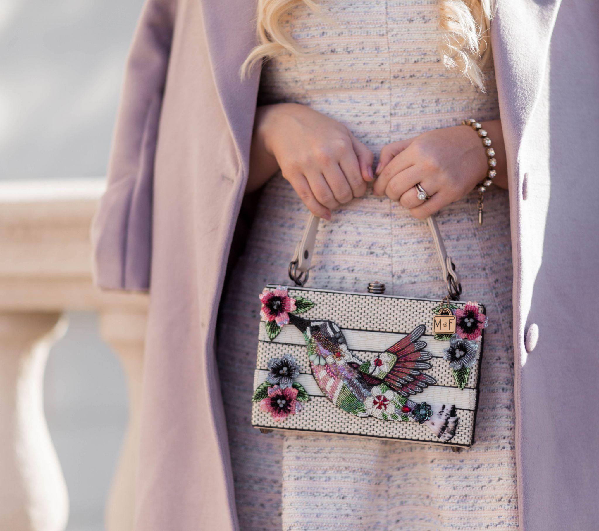 Fashion Blogger Elizabeth Hugen of Lizzie in Lace shares her Mary Frances designer handbag collection including this gorgeous bird handbag