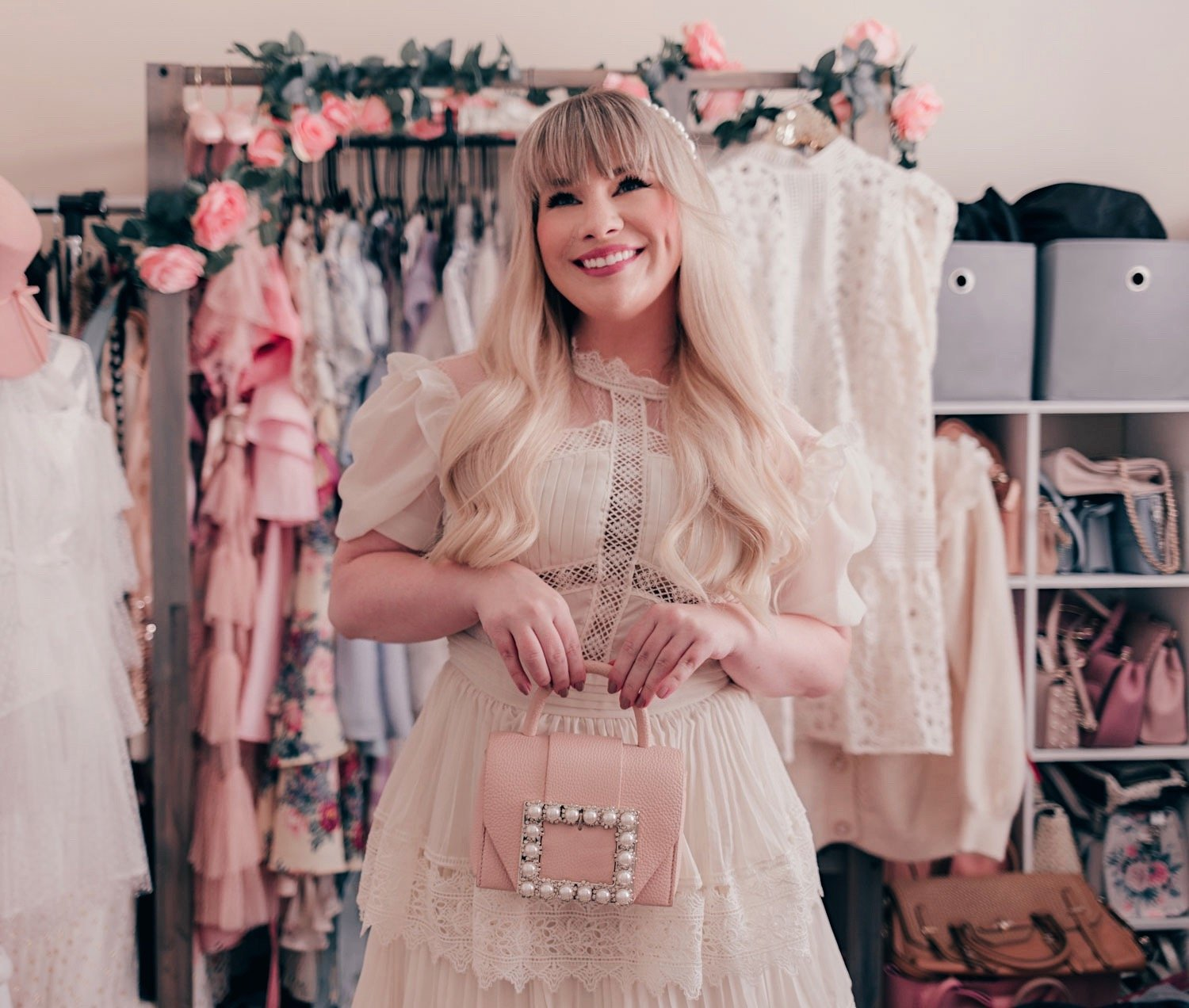 Fashion Blogger Elizabeth Hugen of Lizzie in Lace shares her feminine fashion haul including this gorgeous cream ruffled doll dress!