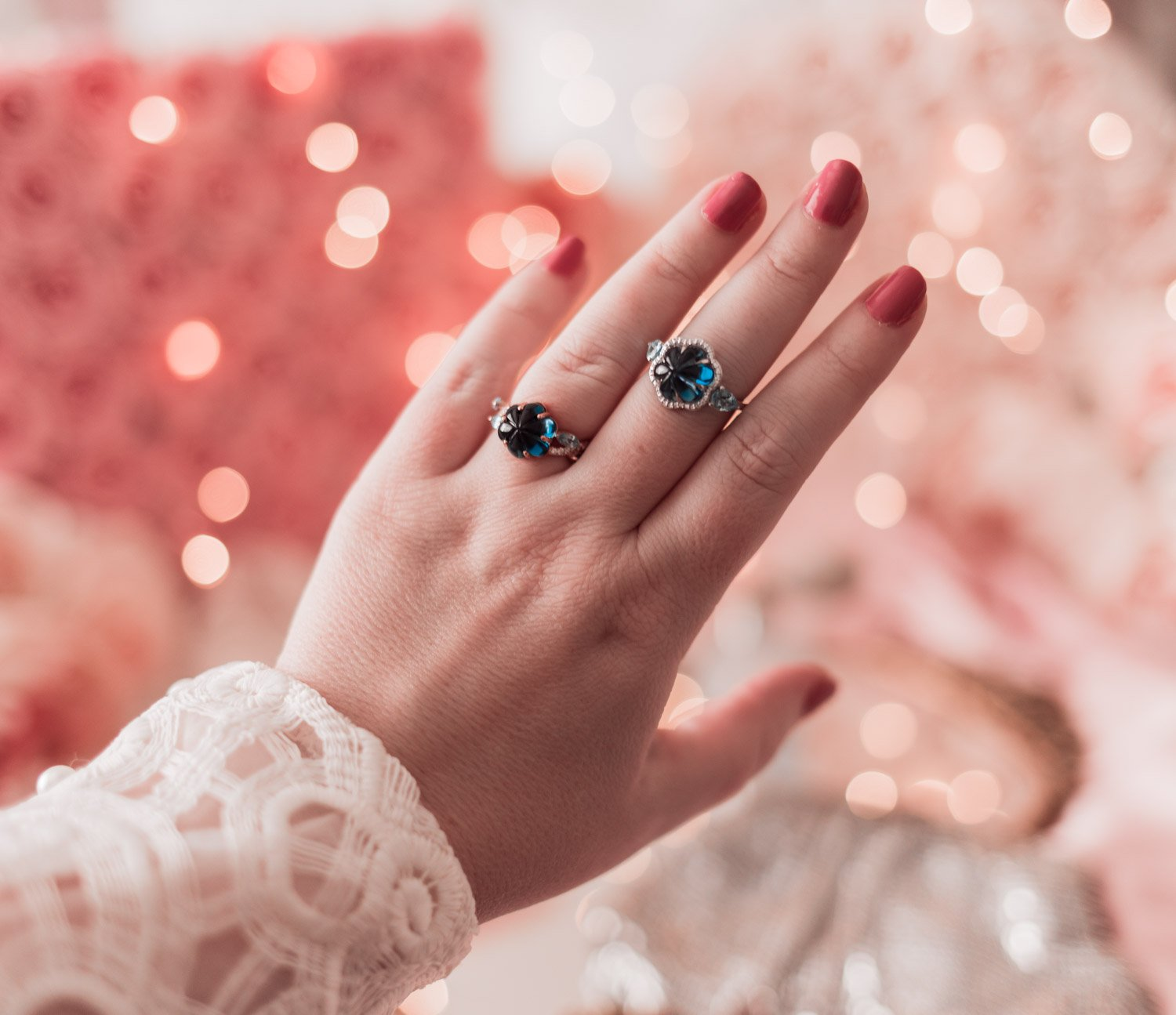 Fashion blogger Elizabeth Hugen shares two floral rings from the Angara Artisinal Collection