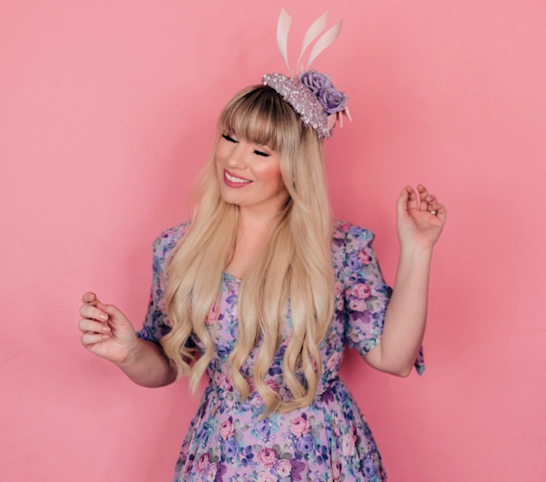 Fashion Blogger Elizabeth Hugen of Lizzie in Lace wear a floral dress and purple floral Merve Bayindir hat