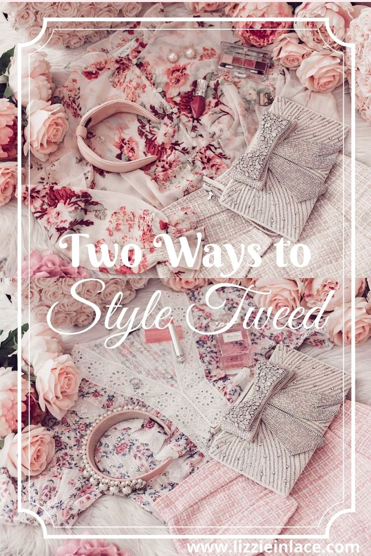 Fashion blogger Elizabeth Hugen of Lizzie in Lace shares Two Feminine Ways to Style a Tweed Skirt