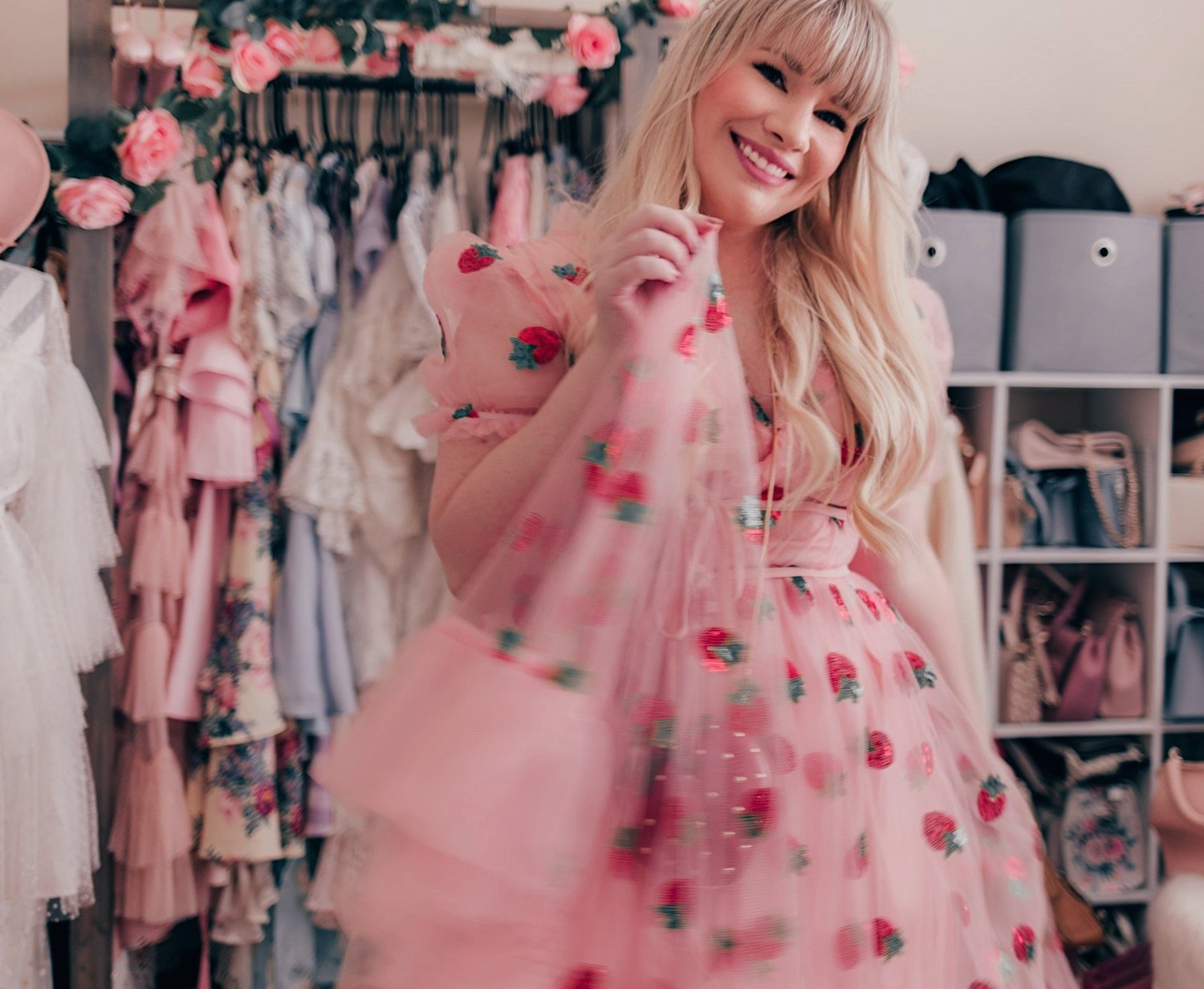 Fashion Blogger Elizabeth Hugen of Lizzie in Lace shares her feminine fashion haul including this stunning strawberry dress dupe!