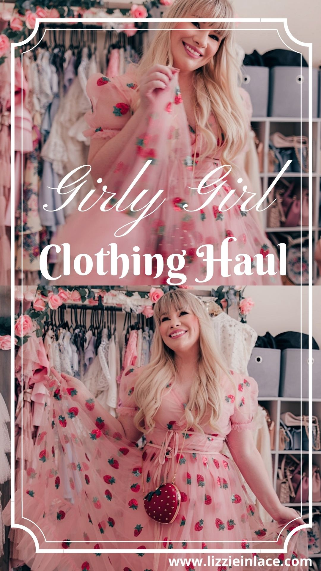 Fashion Blogger Elizabeth Hugen of Lizzie in Lace shares her feminine fashion haul including this strawberry dress dupe, feminine dresses, cozy cardigans and chic accessories!