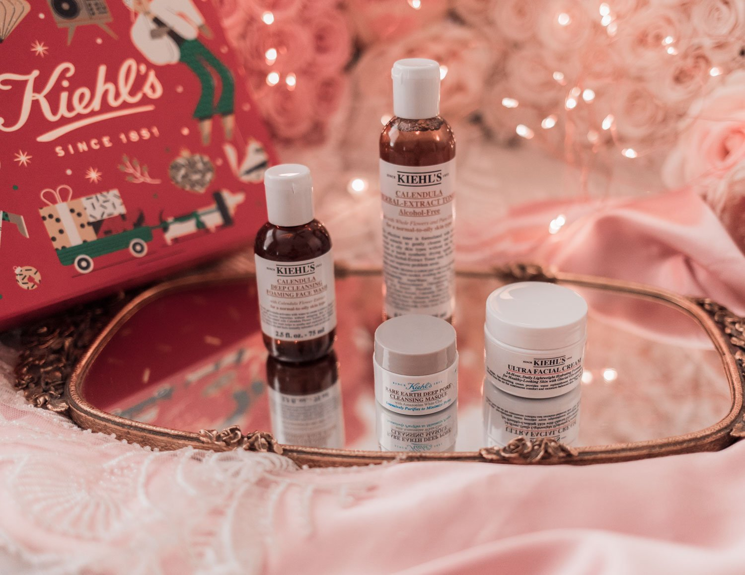 Fashion blogger Elizabeth Hugen of Lizzie in Lace shares her Work from Home Holiday Gift Guide including this Kiehl's Skincare gift set