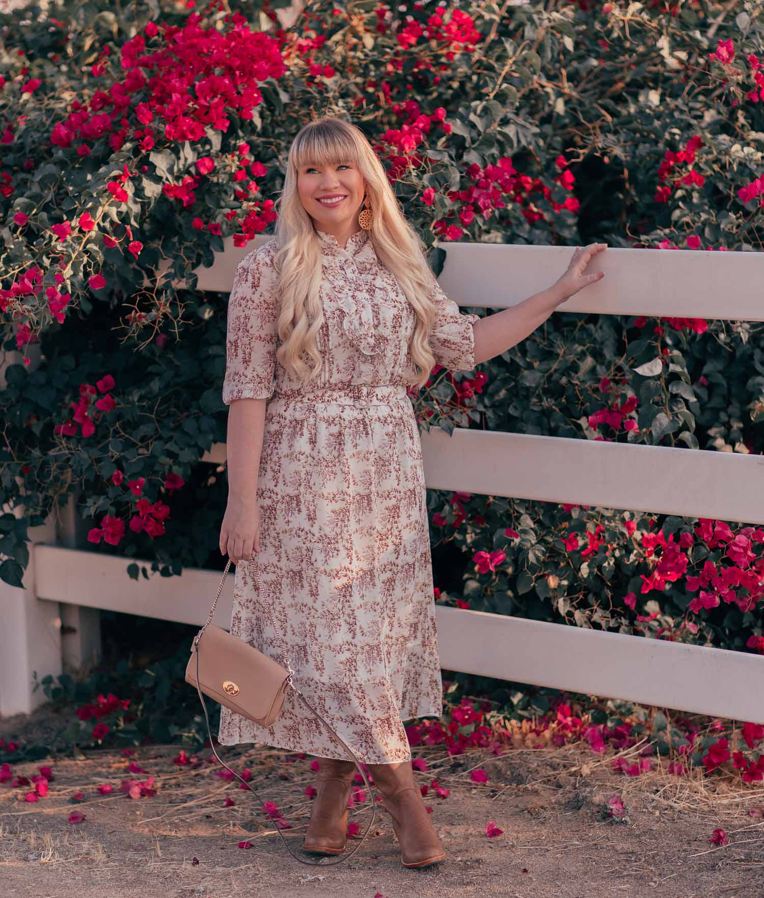 Fashion Blogger Elizabeth Hugen of Lizzie in Lace share How to Wear a Feminine Fall Dress With Brown Boots