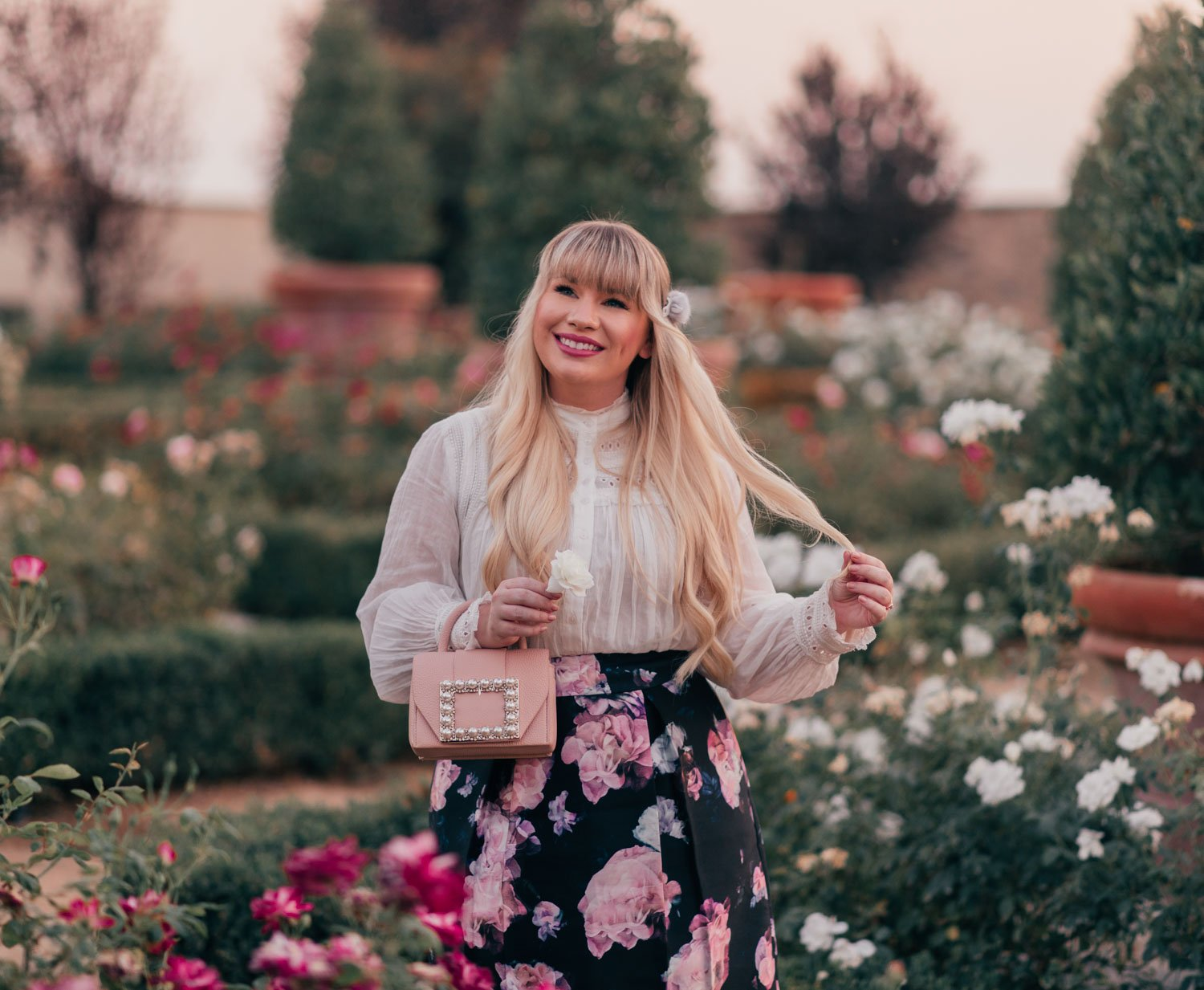 Fashion blogger Elizabeth Hugen of Lizzie in Lace shares her October 2020 Month in Review along with a feminine fall outfit including a BA&SH top and Alexandre de Paris hair accessory