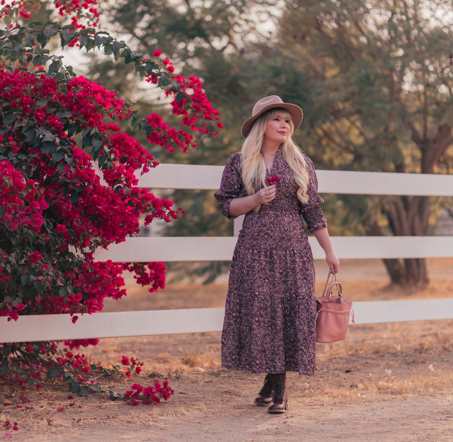 Fashion blogger Elizabeth Hugen of Lizzie in Lace share a Fall Prairie Dress Outfit Idea including a BASH dress