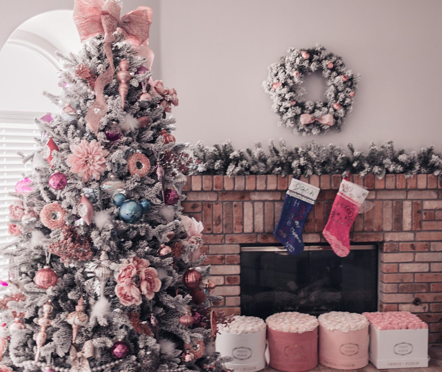 Fashion Blogger Elizabeth Hugen shares her feminine Christmas decor in a pink holiday home tour including a pink christmas tree