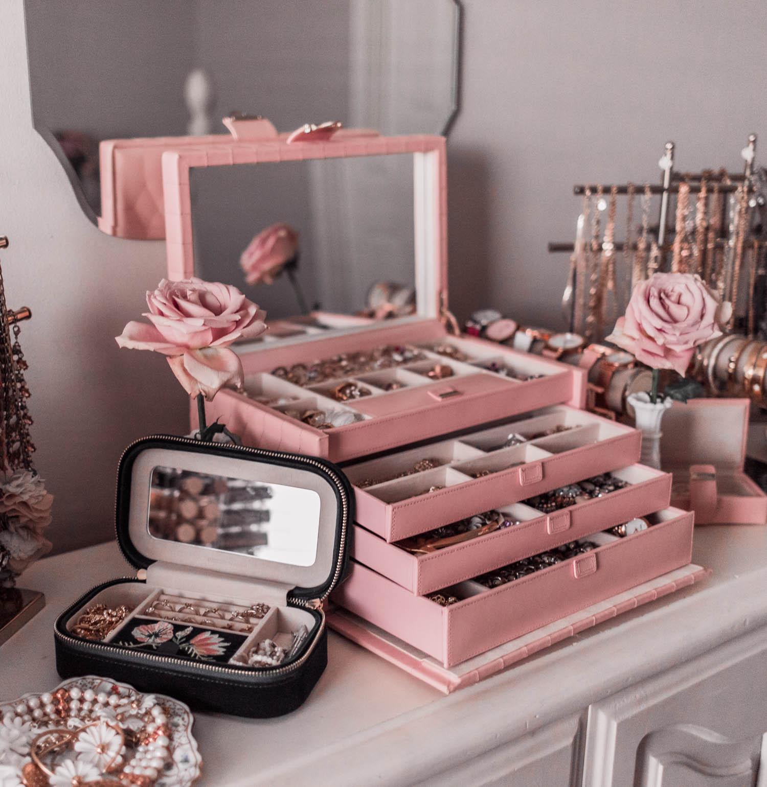 My Girly Jewelry Collection & Pink Jewelry Box
