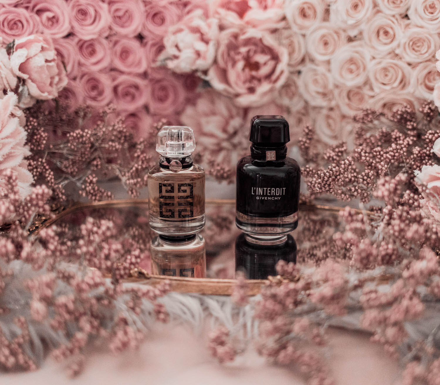 Feminine fashion blogger Elizabeth Hugen of Lizzie in Lace shares the best feminine perfumes and her girly fragrance collection including Givenchy L'interdit