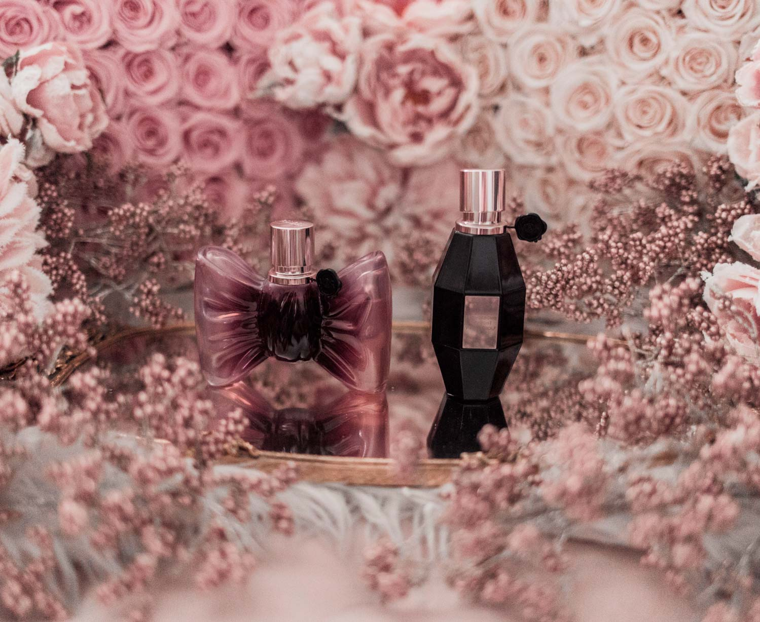 Feminine fashion blogger Elizabeth Hugen of Lizzie in Lace shares the best feminine perfumes and her girly fragrance collection including Viktor and Rolf Bon Bon and Flowerbomb Midnight