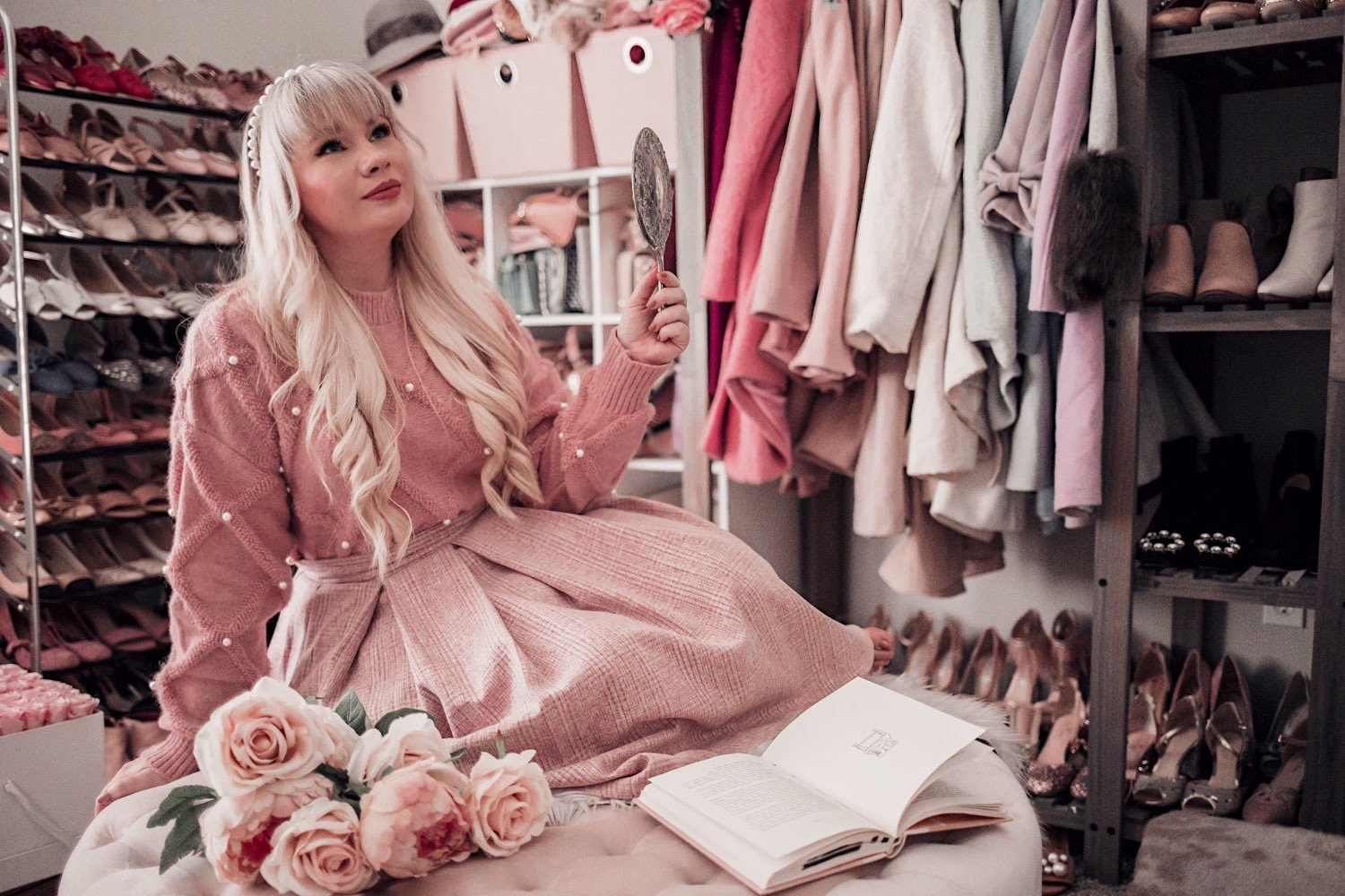 Feminine Fashion Blogger Elizabeth Hugen of Lizzie in Lace shares her December 2020 Month in Review along with a pink winter outfit
