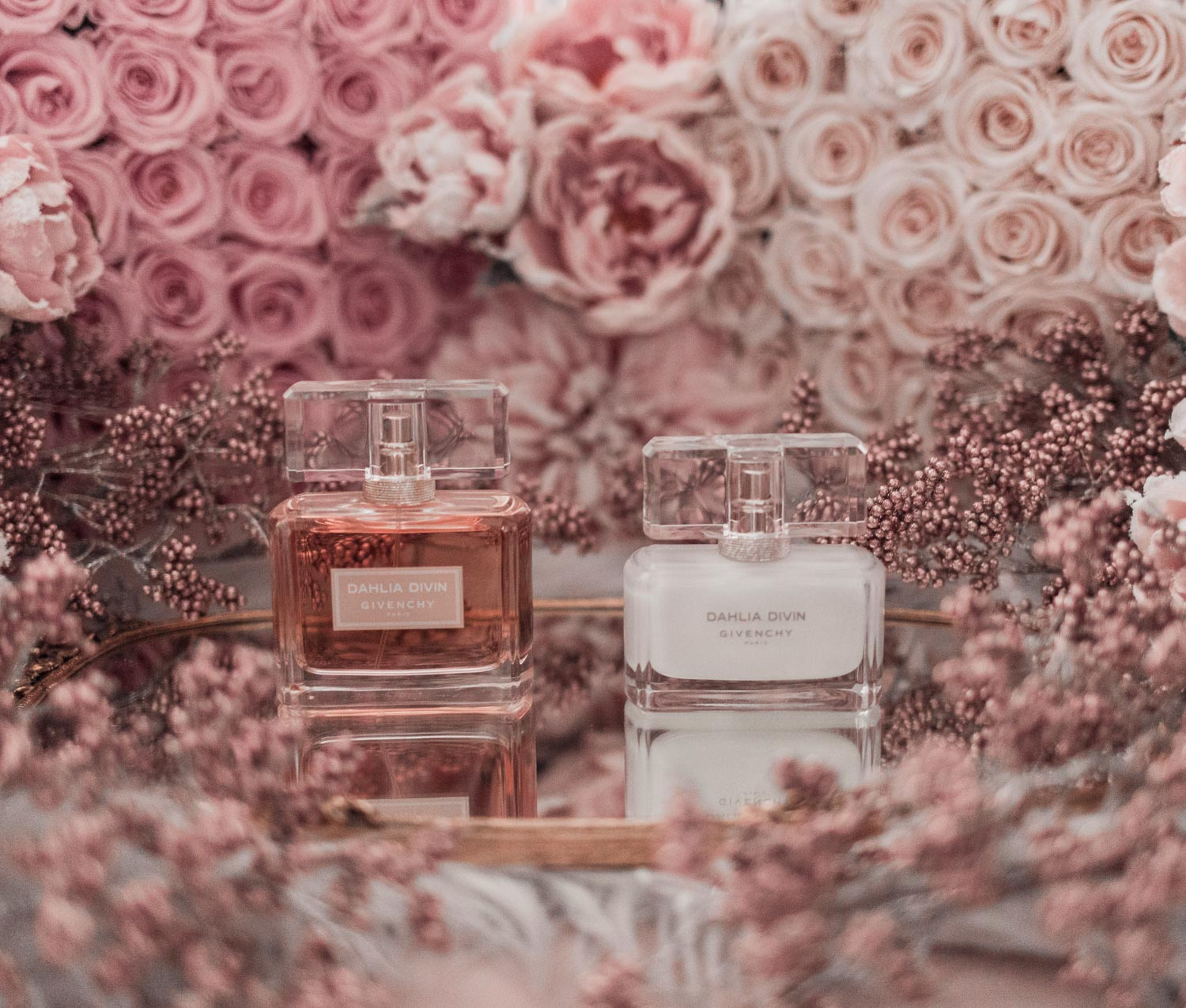 Feminine fashion blogger Elizabeth Hugen of Lizzie in Lace shares the best feminine perfumes and her girly fragrance collection including Givenchy Dahlia Divin