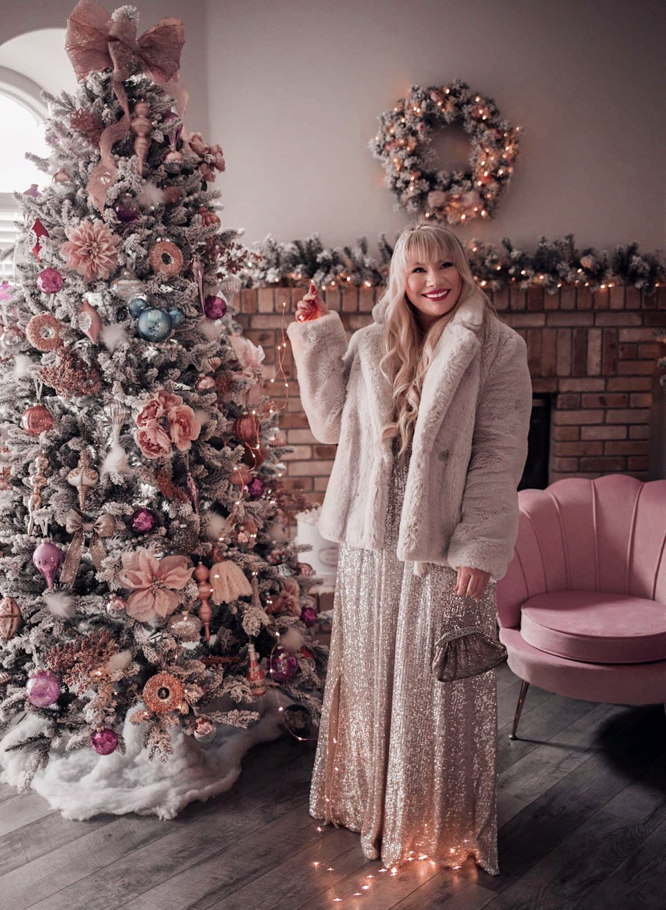 Fashion Blogger Elizabeth Hugen of Lizzie in Lace styles a sparkly silver dress and faux fur coat while reflecting on 2020
