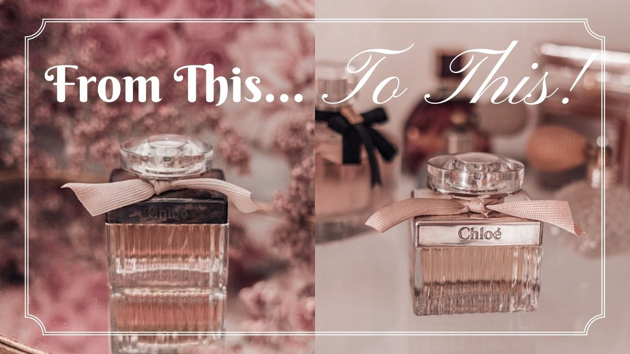 Feminine fashion blogger Elizabeth Hugen of Lizzie in Lace shares how to restore a tarnished Chloe Perfume bottle
