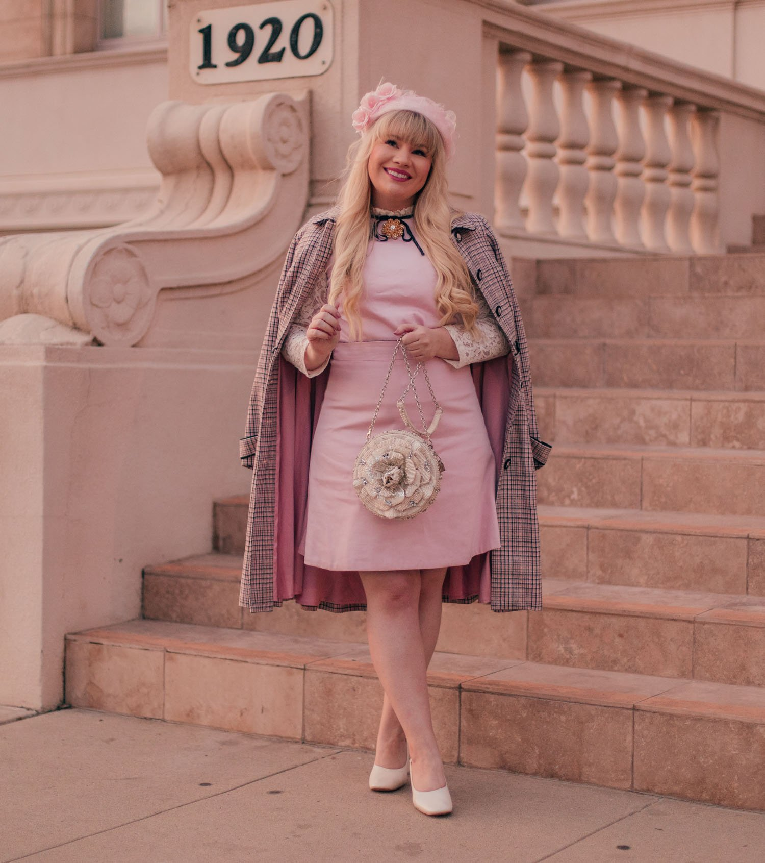 Feminine Fashion Blogger Elizabeth Hugen of Lizzie in Lace wears a girly vintage aesthetic outfit for spring