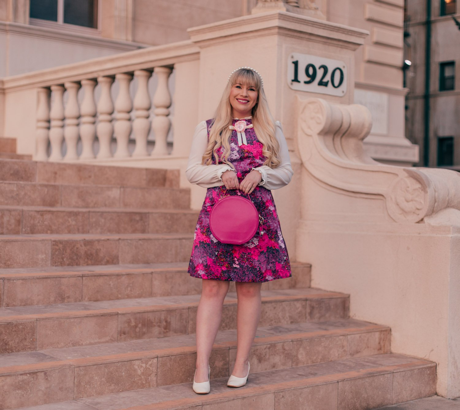 Feminine Fashion Blogger Elizabeth Hugen of Lizzie in Lace wears a hot pink girly outfit for spring