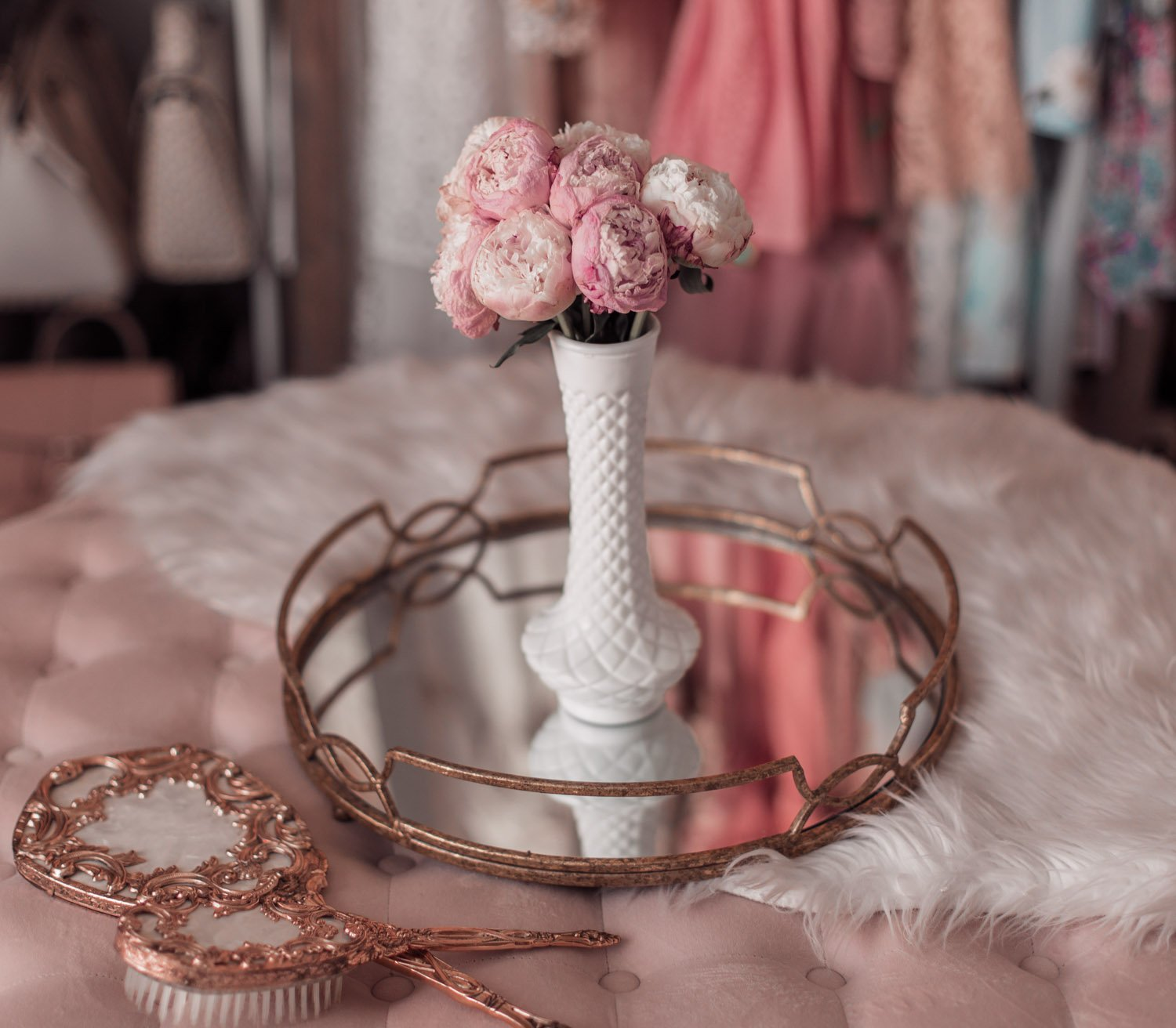 Feminine fashion blogger Elizabeth Hugen of Lizzie in Lace shares the Best Mother's Day gift ideas in her Mother's Day gift guide including these Urban stems pink peonies