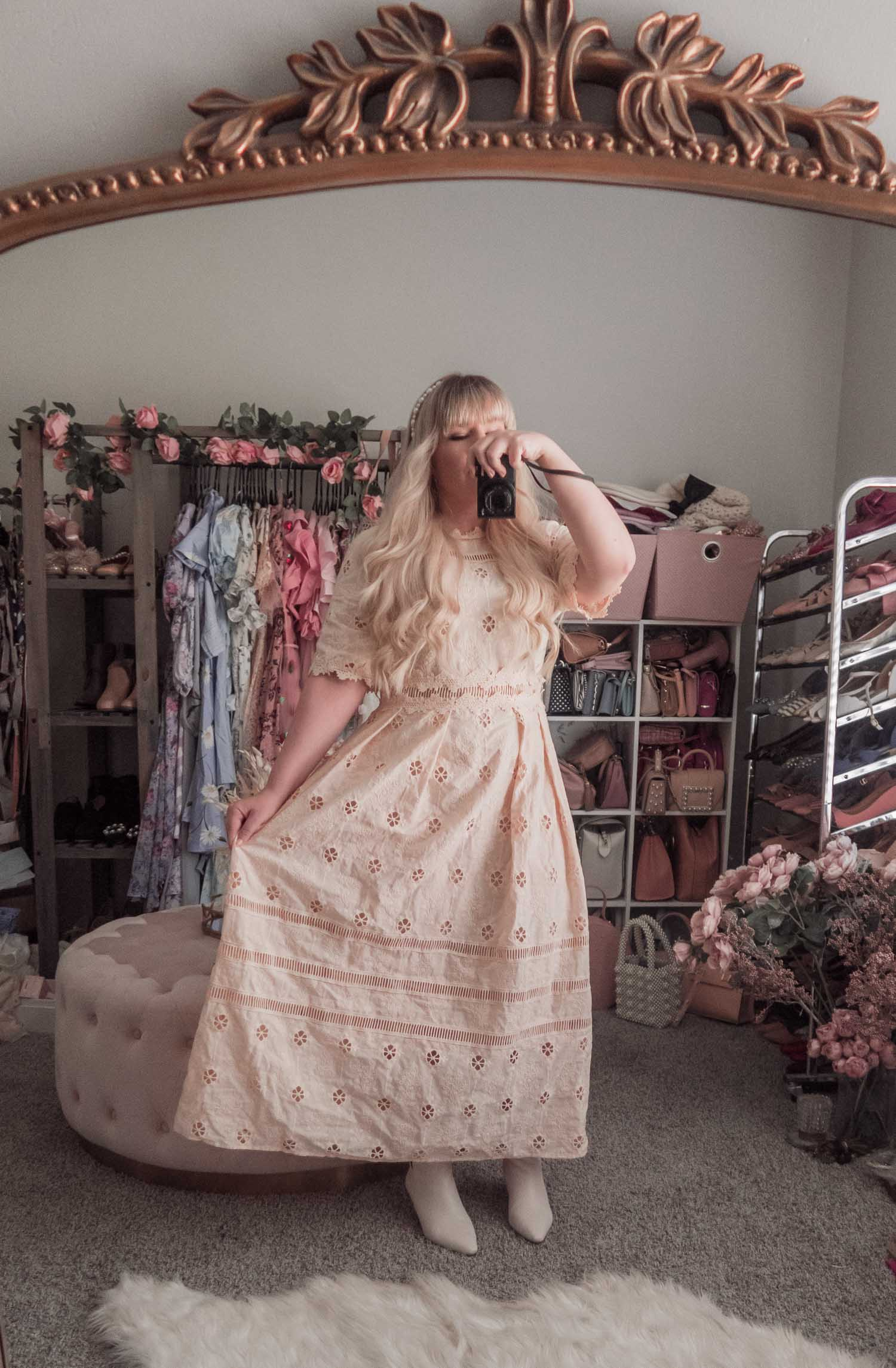 Feminine Fashion Blogger Elizabeth Hugen of Lizzie in Lace shares an updated Chicwish review and styles 4 spring outfit ideas including a cream lace Chicwish dress