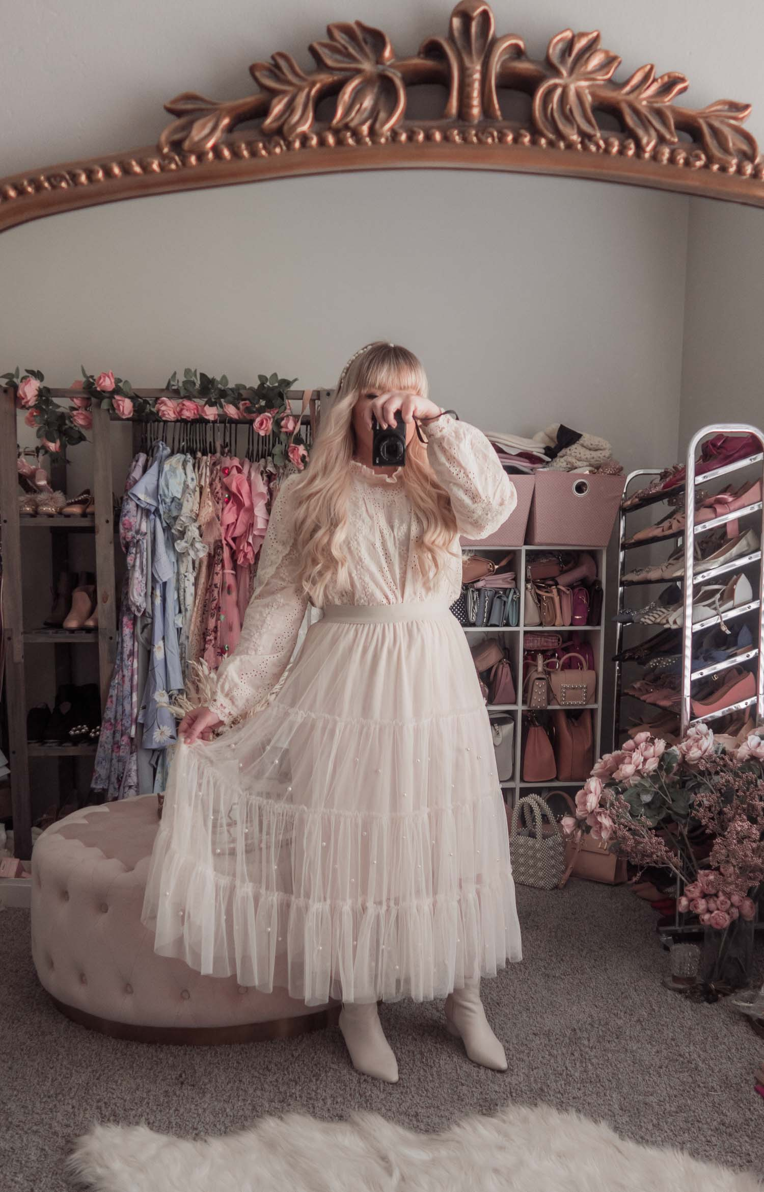 Feminine Fashion Blogger Elizabeth Hugen of Lizzie in Lace shares an updated Chicwish review and styles 4 spring outfit ideas including a cream lace top and Chicwish tulle skirt
