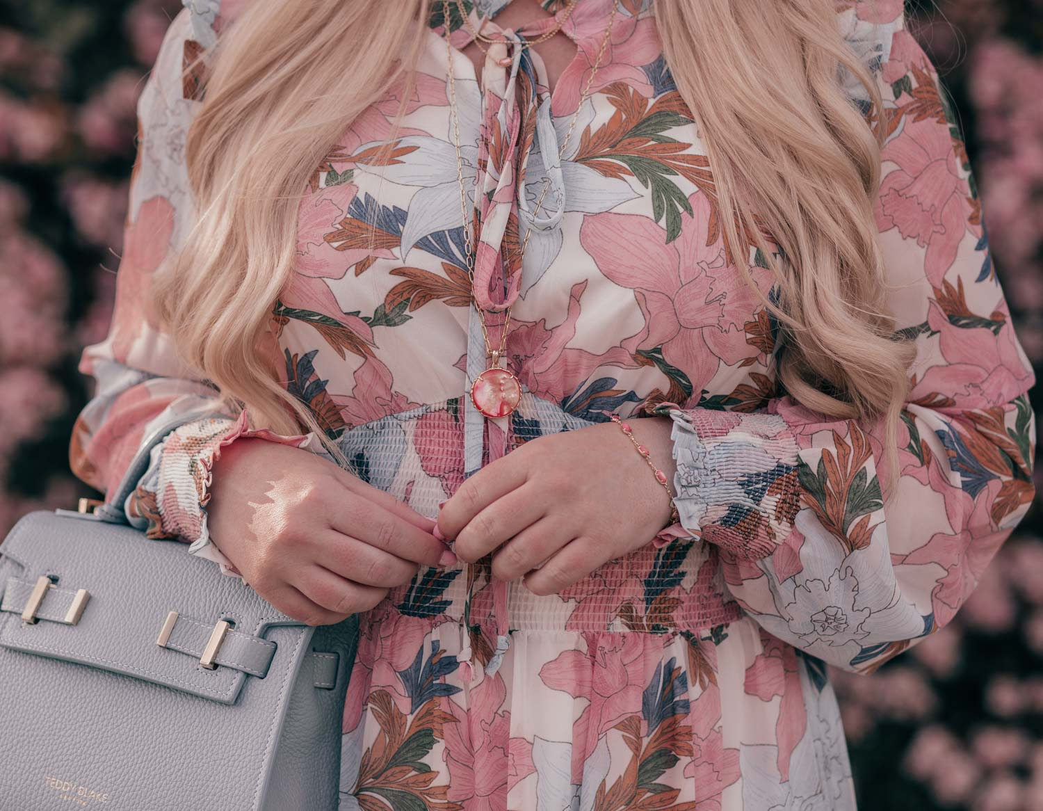 Feminine Fashion Blogger Elizabeth Hugen of Lizzie in Lace styles a Floral Petite Maxi Dress with Kendra Scott jewelry for spring
